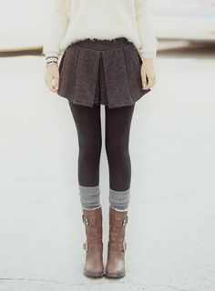 sweater, skirt, dress, leggings, tights, knee highs, legwarmers, boots