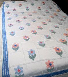 Vintage Chenille Full Queen Floral Bedspread by MistressOfMerlin, $119.00