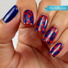 Orange and Blue Argyle Nails by Chickettes.com