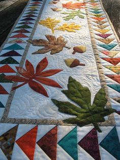 As autumn arrives, wild geese take to the skies, and brightly colored leaves swirl in cool winds. This seasonal table runner will bring the beauty and life of the changing weather into your home. #quilting #quiltingkits