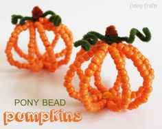 Pony Bead #Pumpkins.  Cute and simple fall #craft for the kids!