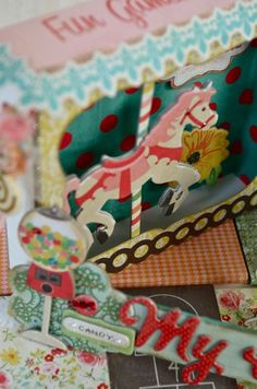 Altering a drawer with childhood decor and mini albums inside. #scrapbook #DIY #altered