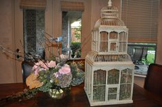 #Bird Theme shower flower arrangement (rose, daisy, thistle, protea, antiqued hydrangea) and Maison Birdcage from Z Gallerie