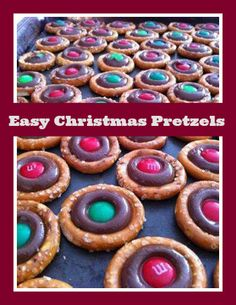 Christmas treats for kids using Hershey's kisses, m&ms and pretzels!