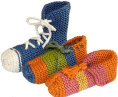 Tutorial: pantuflas tejiedas en dos agujas o palillos para niños