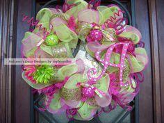 My latest...Glitzy Fuchsia and Lime Deco Mesh Wreath with by myfriendbo
