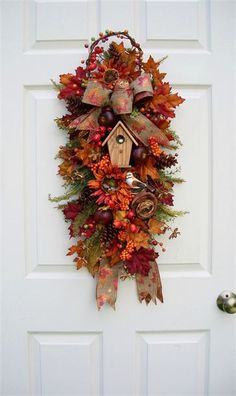 TIMELESS FLORAL CREATIONS - FALL BIRDHOUSE SWAG birdhous