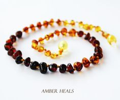 AMBER TEETHING NECKLACE Baroque/Rainbow by AmberHeals on Etsy, $18.99