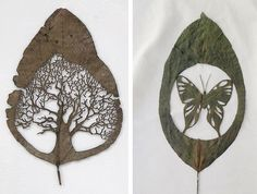 tree designs, leav, art de, leaf art, art en
