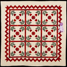2013 Quilt Expo Quilt Contest, Honorable Mention, Category 6, Wall Quilts, Hand Quilted Any Type: Civil War Tulip Wedding Quilt, Carole Sutton, Lowell, Ind.