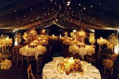 outdoor woodsy weddings with twinkling lights | We love the twinkle lights and rustic feel of this outdoor reception ... lights, wedding planning ideas, wedding receptions, night skies, lighting, indoor wedding, outdoor wedding decorations, outdoor weddings, outdoor receptions