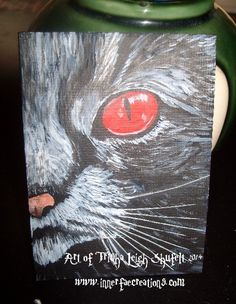 ACEO~Meow (c) 2014 Trisha leigh Shufelt https://www.etsy.com/listing/202922793/aceo-original-cat-mini-painting-acrylic