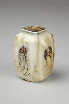 Martin Brothers Pottery - Jellyfish & Shells Vase. Incised, Painted & Glazed Stoneware. Southall, Middlesex, England. Circa 1907. 7.8cm x 6.2cm.