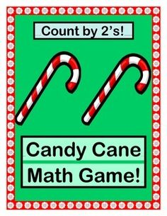 """GROUP GAME, CRAFT. and HOLIDAY SONG for SKIP-COUNTING BY 2's!  Count as high as you like, and make your Holiday Math Lesson MULTI-SENSORY!  Your kids can make decorated CANDY CANE CRAFTS to be added two at a time to a row of Holiday Trees!  All Templates are included.  Sing a Skip-Counting SONG to the tune of """"Jingle Bells"""".  Have fun with ACTIVE MATH!  (8 pages)  From Joyful Noises Express TpT!  $"""