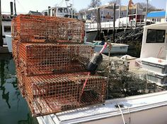 these are LOBSTAH traps at Boothbay Harbor, Maine.