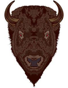 animals, digit art, beauti illustr, behance, art select, digital art, craniodsgn, anim buffalo, shirt designs
