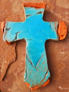 Rustic Turquoise Layered Cross