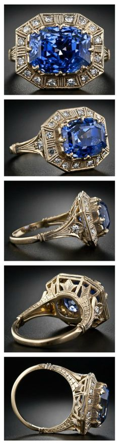 Antique 8.62 Carat Art Deco Sapphire and Diamond Ring.