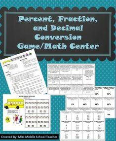 """Percent, Fraction, and Decimal Conversions Math Game/Math Center: Students play in groups to solve math problems and be the first to get their """"students"""" out of the classroom and to the bus in this interactive math game!"""