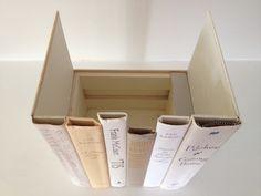 make a book, hidden storage, hide cable, hiding places, storage boxes