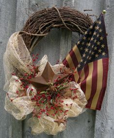 Americana Wreath, Patriotic Wreath, Fourth of July, Tea Stained Flag Wreath