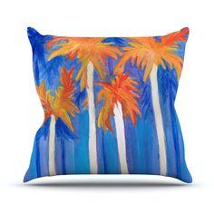 """Rosie Brown """"Florida Autumn"""" Blue Orange Throw Pillow from KESS InHouse #pillow #throwpillow #homedecor #kessinhouse"""