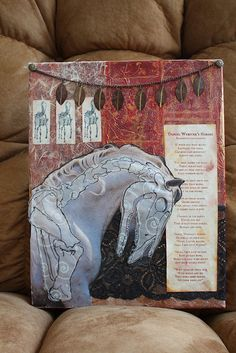 """""""Daniel Webster's Horse"""" Canvas, vellum, paint, papers, thread, metal, gel medium.  This is one of my favorite childhood poems."""
