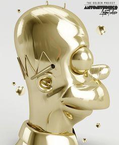 Homer simpson feito de ouro, só o artista Antoni Tudisco para pensar algo assim. #Homer #TheSimpsons #Gold