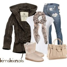 """""""Abercrombie s"""" by kimskienails on Polyvore jean, ugg boots, style, fall outfits, winter outfits, casual outfits, cozy sweaters, cold days, mid calf boots"""