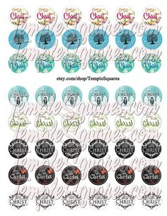 "Printable Digital File. Variety of designs on 1"" circles LDS YW Young Women 2014 Theme Come Unto Christ"