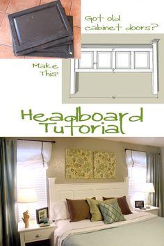 Headboard Tutorial (upcycle old cabinet doors) remodelaholic.com #headboard #bed #tutorial #diy #upcycle