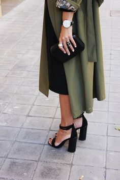 black high sandals, green coat.