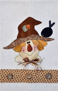 Happy Scarecrow Applique Pattern by The Wooden Bear Quilt Designs at KayeWood.com. Patternlets are small, quick appliques to use on a variety of projects.  We show it on a tea towel, but use the applique to make other projects such as small hangings, decorative pillows, use them on the corners of table toppers...anything your crafty mind can imagine! http://www.kayewood.com/item/Happy_Scarecrow_Patternlet/3312 $4.75