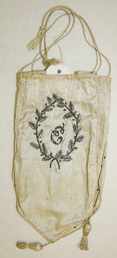 Small purse 1800–1810 - in the Metropolitan Museum of Art costume collections. (Looks like silk.)