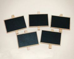 Set of 5 Small Chalkboard Clips - $8.99. http://www.bellechic.com/products/ddbc94fbcf/set-of-5-small-chalkboard-clips