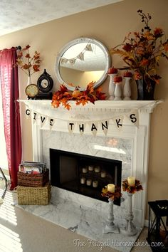 Give Thanks burlap fall banner - The Frugal Homemaker
