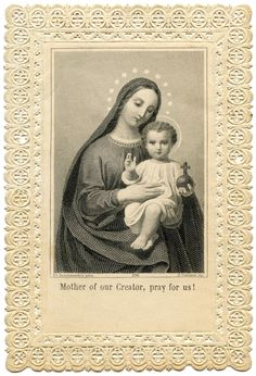 Antique Image - Lace Holy Card - Jesus and Mary