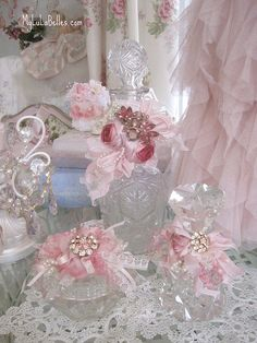 Under glass: The Little things in Life I Love: Pink Ribbon Rose Vintage Bottles