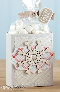 DIY:: Let is Snow Gift Bag Then Fill With Marshmallows !!