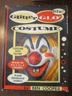 Vintage Halloween Happy Clown Glitter Glo' costume Ben Cooper | eBay        Clowns are sacry!