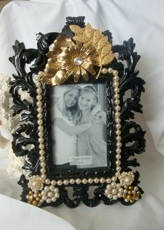 Vintage jewelry embellished picture frame, Golden Flowers and Pearls. $45.00, via Etsy.