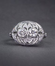 Art Deco diamond cluster ring and spectacular filigree work, $1622.00