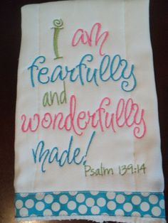 Scripture Burp Cloth Fearfully and Wonderfully Made by Bellabug08
