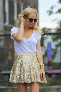 plain top and sequined skirt
