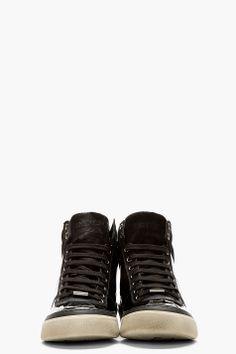 Jimmy Choo Black Patent Leather Belgravia High-top Sneakers for men | SSENSE