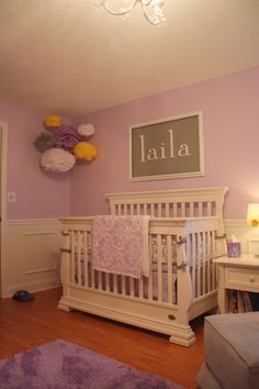 Purple room on pinterest purple nurseries project for Above the crib decoration ideas