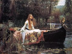 """""""The Lady of Shalott"""" is a Victorian ballad by the English poet Alfred, Lord Tennyson.     John William Waterhouse painted three episodes from the poem. In 1888, he painted the Lady setting out for Camelot in her boat;"""