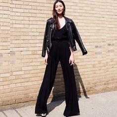 #stealthelook #look #looks #streetstyle #streetchic #moda #fashion #style #estilo #inspiration #inspired #blazer #bolsa #macacao #preto #sandalia #couro #leather