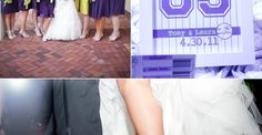 This might be one of the most creatively executed theme weddings I've ever seen.  Especially considering all the baseball-inspired details were created by the couple and their friends.  I love that their shared love for baseball made a major appearance throughout their big day and in such fun ways too.  The baseball quotes, jersey numbers…