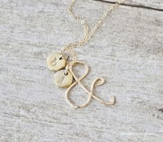 14K Gold Ampersand & Initial Necklace from jessicaNdesigns!